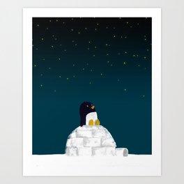 Star gazing - Penguin's dream of flying Art Print