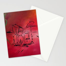 Music, Drummer, Drums, Orignal Artwork By Jodi Tomer. Rock and Roll Drums Stationery Cards