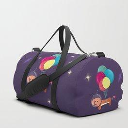 Galaxy Dog with balloons Duffle Bag