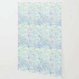 Swirls gold teal lavender Wallpaper