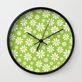 DAISIES ON APPLE GREEN Wall Clock