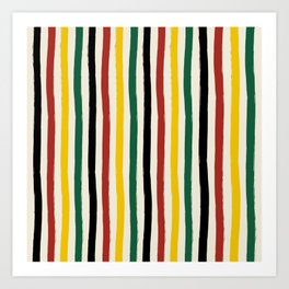 Rustic Lodge Cabana Stripes Black Red Yellow Green Art Print