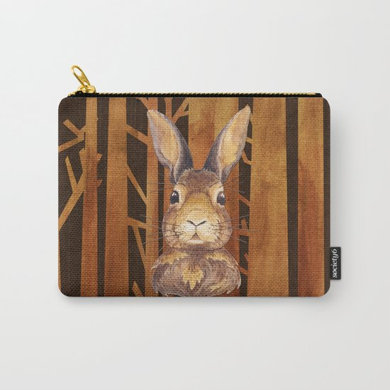 Rabbit in the forest- abstract animal hare watercolor illustration Carry-All Pouch