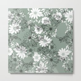 Vintage green black white hand drawn floral Metal Print