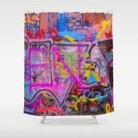 grafitti Shower Curtains featuring Bright Grafitti by davehare