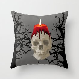 Halloween Skull with candle and trees Throw Pillow