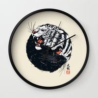 tiger Wall Clocks featuring Taichi Tiger by Steven Toang