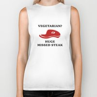 vegetarian Biker Tanks featuring Vegetarian? Huge Missed Steak by AmazingVision