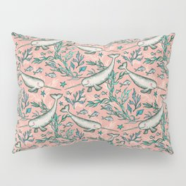 Narwhal Toile - peach pink Pillow Sham