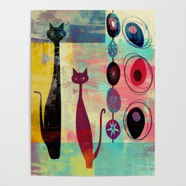 Mid-Century Modern 2 Cats - Graffiti Style Poster