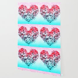 geometric square pattern heart shape abstract background in red pink blue Wallpaper