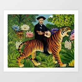 Henri Rousseau Dreaming of Tigers tropical big cat jungle scene by Henri Rousseau Art Print