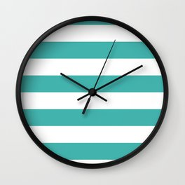Horizontal Stripes - White and Verdigris Wall Clock