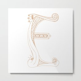 Fancy E Metal Print