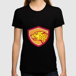 Jaguar Head Side Growling Shield Retro T-shirt