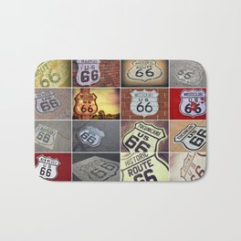 Historic U.S. old Route 66 signs. Bath Mat