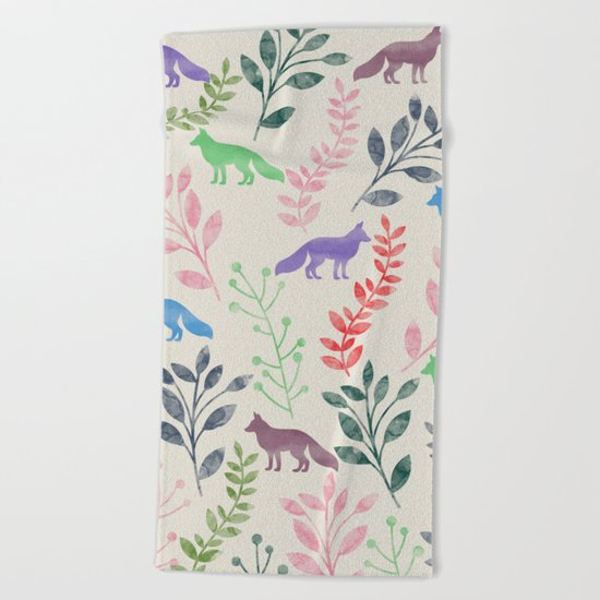 Watercolor Floral & Fox III Beach Towel