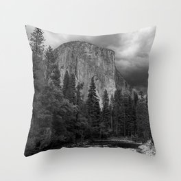 Yosemite National Park, El Capitan, Black and White Photography, Outdoors, Landscape, National Parks Throw Pillow