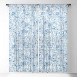Winter Blues - echinacea Sheer Curtain