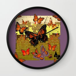 Puce color Abstracted Black & Orange Monarch Butterflies Wall Clock