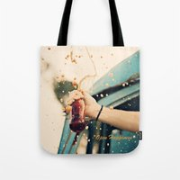 coca cola Tote Bags featuring Coca Cola by Ntaly