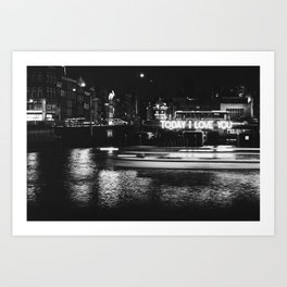 Photo of an artwork called Today I Love you in Winter Wonderland over the Dutch Canals of Amsterdam, the Netherlands I | Fine Art Black and White Photography |  Art Print