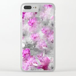 CHERRY BLOSSOMS ORCHIDS AND MAGNOLIA IMPRESSIONS IN PINK GRAY AND WHITE Clear iPhone Case