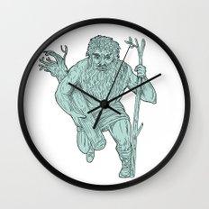 Leshy Tree Runk Staff Drawing Wall Clock