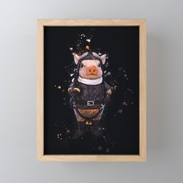 Steampunk Aviator Pig Framed Mini Art Print