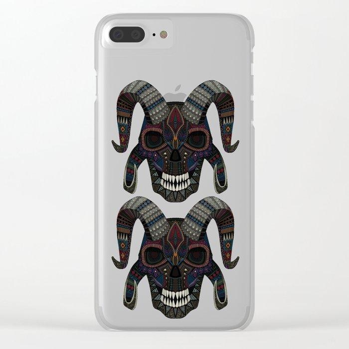demon skull heather Clear iPhone Case