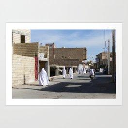Black & White Zoroastrian Streetlife | desert city Varzaneh (Iran) Art Print