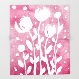 Whimsical watercolor flowers – pink Throw Blanket