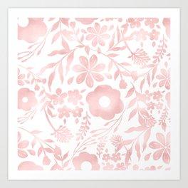 Elegant Girly Rose Gold Flowers Shapes Pattern Art Print