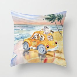 Dogs On Vacation Throw Pillow