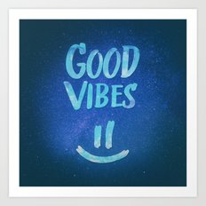 Good Vibes - Funny Smiley Statement / Happy Face (Blue Stars Edit) Art Print