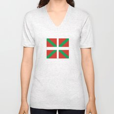 Flag of Euskal Herria-Basque,Pays basque,Vasconia,pais vasco,Bayonne,Dax,Navarre,Bilbao,Pelote,spain Unisex V-Neck