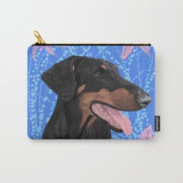 Happy doberman dog - Blue Carry-All Pouch