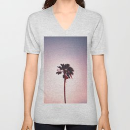 Pink And Purple Background Sunset Minimalist Palm Tree Silhouette Modern Photo California Unisex V-Neck