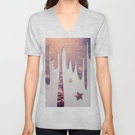 Glittery Purple Ocean Dripping on Grunge White Wall Unisex V-Neck