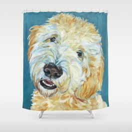 Stanley the Goldendoodle Dog Portrait Shower Curtain