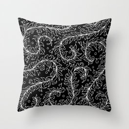Lacy Leaves Black and White Throw Pillow