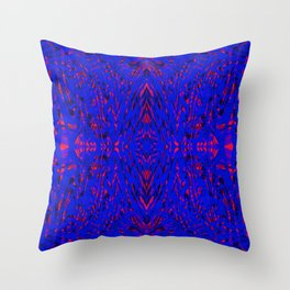 blue on red symmetry Throw Pillow