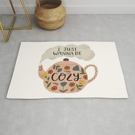 'I Just Wanna Be Cozy' Floral Teapot Rug