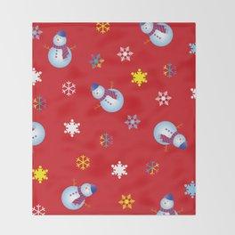 Snowflakes & Snowman_D Throw Blanket