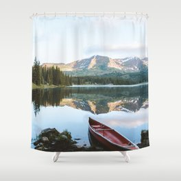 Sunrise Canoe at Lake Irwin Shower Curtain
