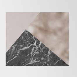 Layered rose gold and black campari marble Throw Blanket