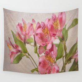 Pink Peruvian Lilies Alstroemeria Wall Tapestry