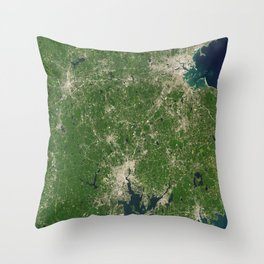 1257. NASA Satellite Captures Super Bowl Cities - Boston/Providence Throw Pillow