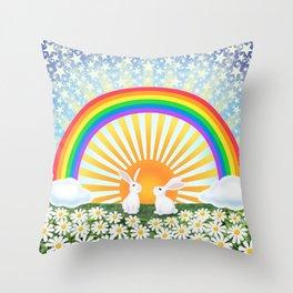 rainbow, sunshine, bunnies, & daisies Throw Pillow