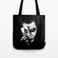 joker Tote Bags featuring Joker by NickHarriganArtwork